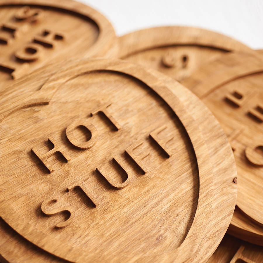 Solid Oak Hot Stuff Trivet By Wood Paper Scissors