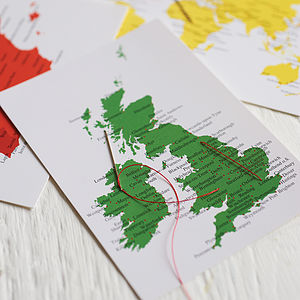 Stitch A Map Postcard - wedding stationery