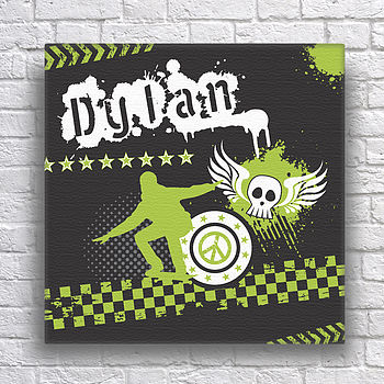 Personalised Skater Teens Canvas - Green
