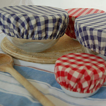 Set Of Six Gingham Bowl Covers