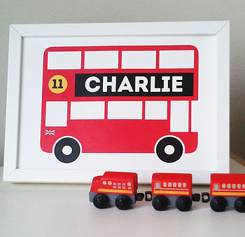 Personalised Children's London Bus Print