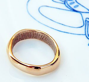 Rose Gold Bespoke Fingerprint Wedding Ring - rings
