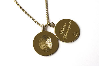 Gold necklace with two fingerprint engraved charms, fingerprint engraving on the front of the charm and name and date engraved on the reverse (hallmarked side) of the charm