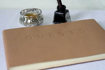Luxury Tan Leather Guest Book