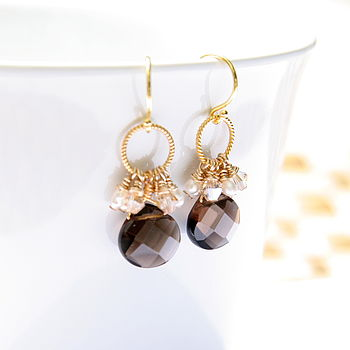 Smokey Quartz And Gold Drop Earrings