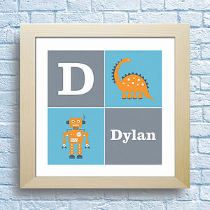 Personalised Robot And Dinosaur Kids Art - children's room