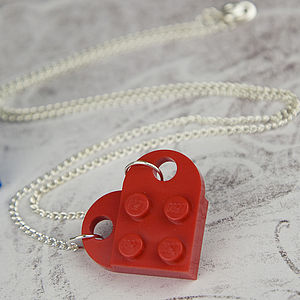 Building Brick Heart Plate Pendant Necklace - women's jewellery