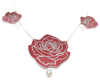 Wild Rose White Freshwater Pearl Necklace