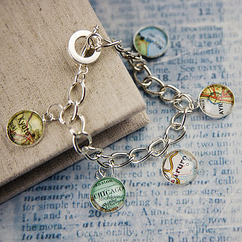 Map Personalised Location Charm Bracelet
