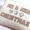 personalised mr & mrs cushion, stone hearts
