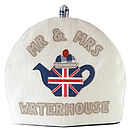 Personalised mr & mrs union jack tea cosy