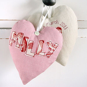 Personalised Embroidered Fabric Heart - message tokens