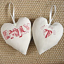 personalised heart with name, cream front and back