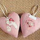 personalised tooth fairy pocket heart, pink front and back