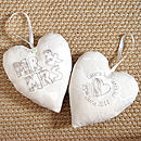 personalised mr & mrs heart front and back, ivory