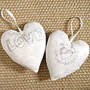 persoanlised love heart front and back, ivory