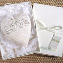 personalised ivory wedding heart, gift boxed