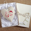 cream personalised 60th birthday heart, gift boxed