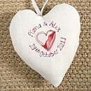personalised wedding heart back, cream with floral
