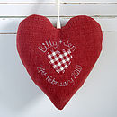 personalised wedding heart back, red check