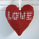personalised LOVE heart front, red with check