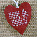 personalised MR & MRS heart front, red with check