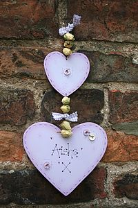 Handmade Wooden Double Heart Name Sign