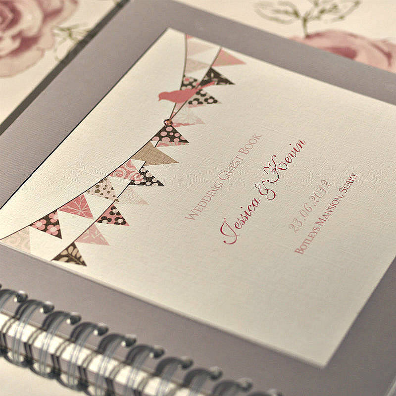 Wedding Guest Book Cover Ideas : Bunting design personalised wedding guest book by