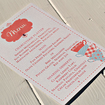 Tea Party Menu Personalised Cards