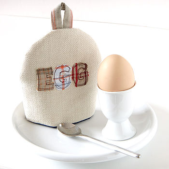 personalised egg cosy, cream with check
