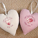 personalised embroidered heart backs, cream and pink