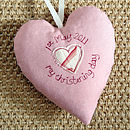 personalised christening heart, pink