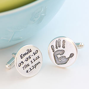 Birth Celebration And Handprint Cufflinks - personalised jewellery