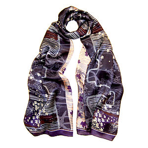 Midnight Iris Silk Scarf
