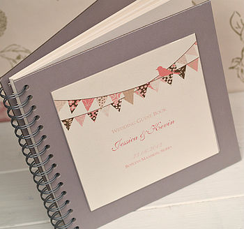 Bunting Design Personalised Wedding Guest Book