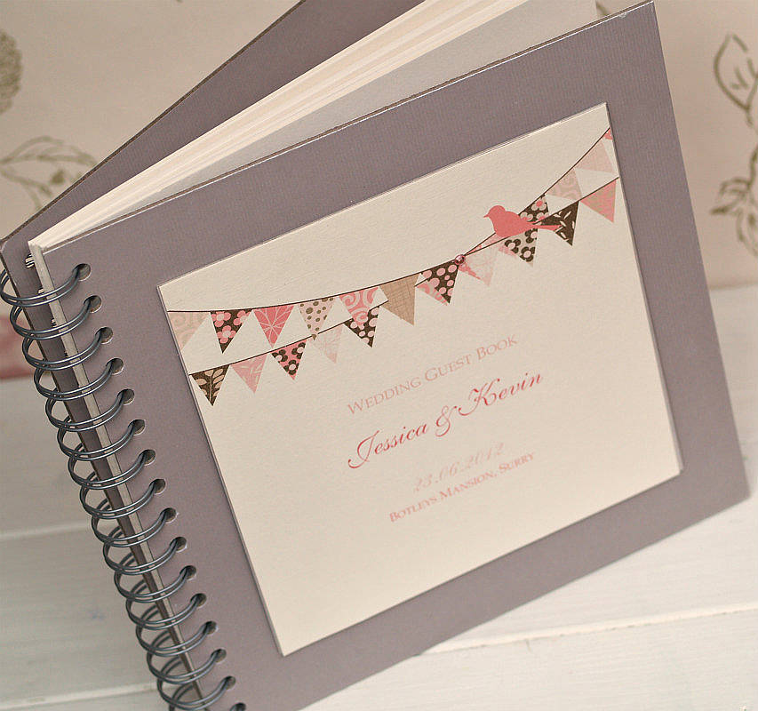 Wedding Guest Book Cover Design ~ Bunting design personalised wedding guest book by
