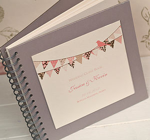 Bunting Design Personalised Wedding Guest Book - birds & butterflies