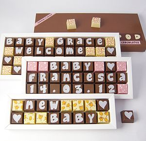 Personalised NEW BABY Chocolates - novelty chocolates
