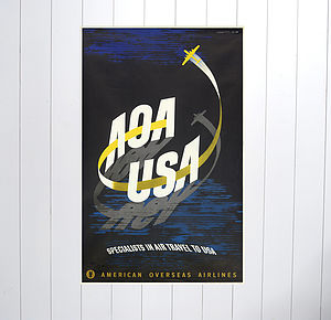 Original AOA Aviavtion Travel Poster - activities & sports