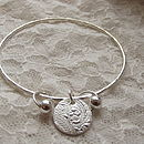 Silver Round Charm Bangle