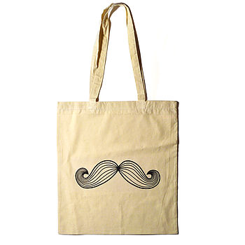 Moustache Cotton Tote Bag