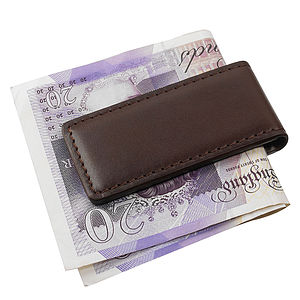 Brown Italian Leather Money Clip - wallets & money clips
