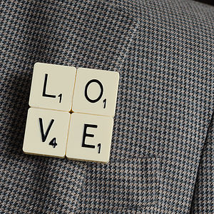 'Love' Vintage Letter Tile Brooch - wedding favours
