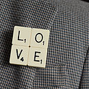 'Love' Vintage Letter Tile Brooch