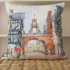 Watercolour Cushion Chester East Gate Clock - cushions