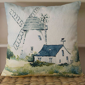 Great Bardfield Essex Watercolour Cushion - living room