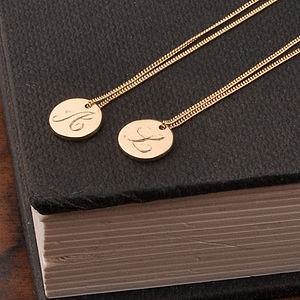 Gold Disc Initial Necklace - for friends