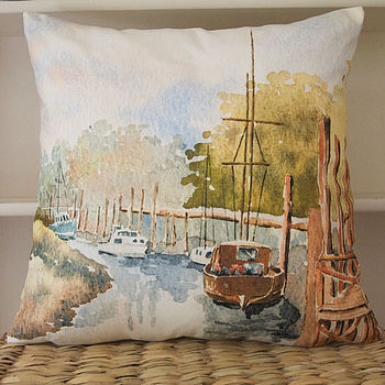 Watercolour Cushion Skippool Creek