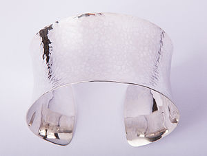 Sterling Silver Hammered Cuff Bangle - bracelets & bangles