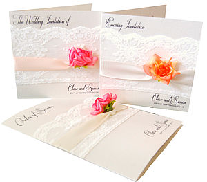 Rose And Lace Wedding Invitation - invitations